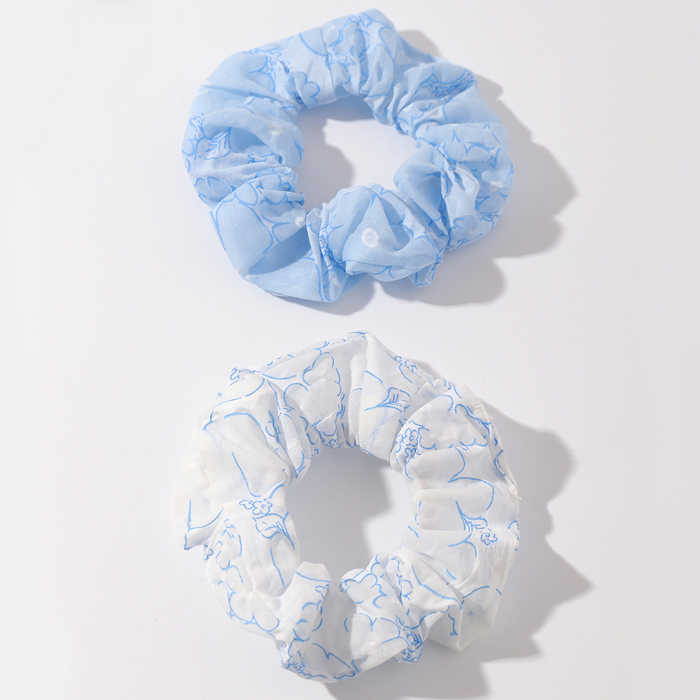 Blue and White Cloth Scrunchies for Fixing Hair