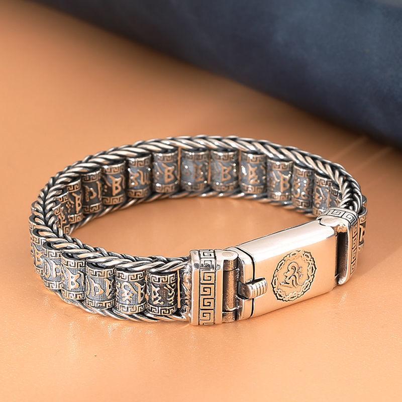 Creative Rotatable Silver Bracelet for Retro Fashion Style