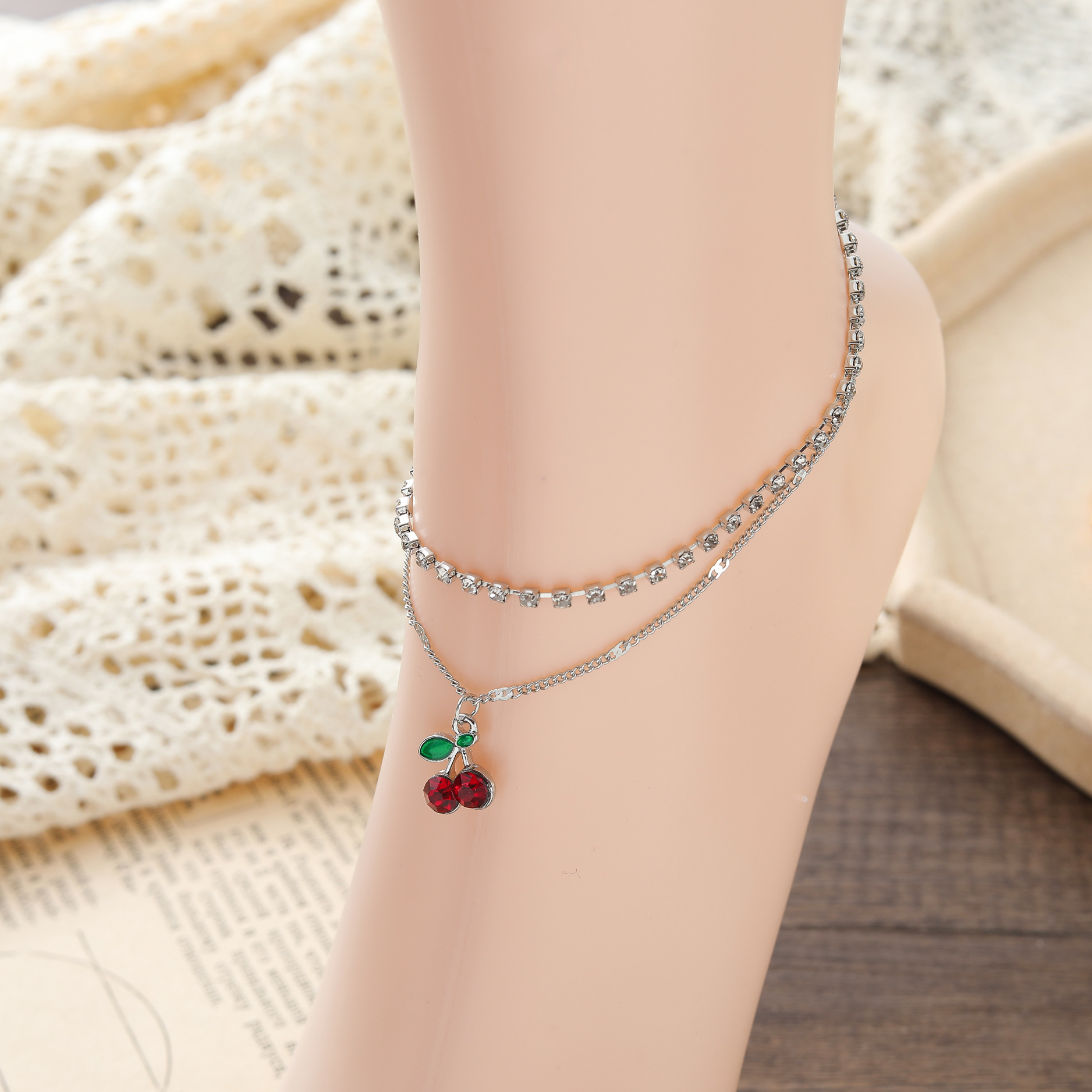 Elegant Silver Plated Artificial Diamond Cherry Pedant Anklet for Any Occasion Wear