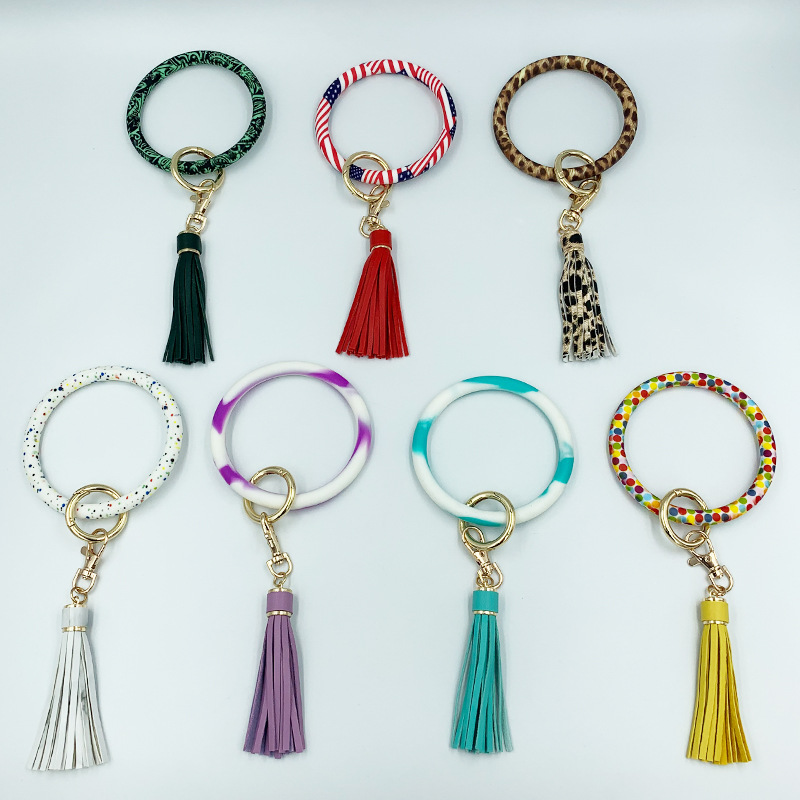 Fashionable Keychain Designed with Faux Leather Tassel for Wristlet Bags