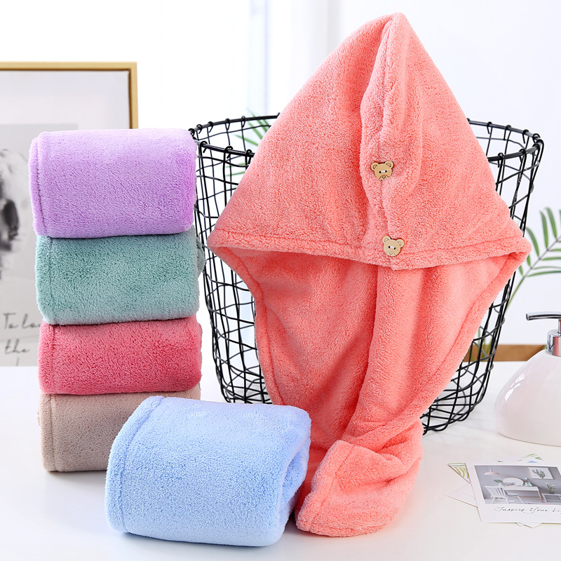 Water Absorbent Thick Coral Fleece Shower Cap for Household Use