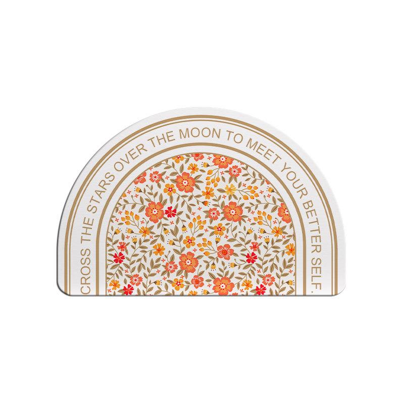 Floral Semicircle Non-Slip Mat for Decorative Doorways