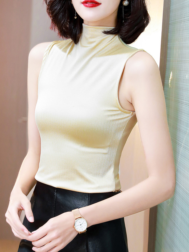 Shiny Sleeveless High Turtle Neck T-Shirts for Casual Occasion