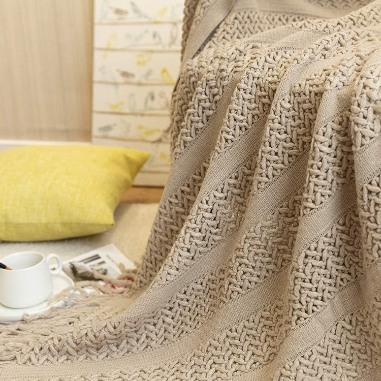 Comfy Tassel Knitted  Pure Pigment Blanket for Air Conditioning Sofa Room