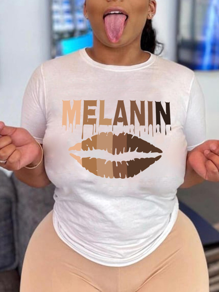 """Figure-Friendly """"Melanin and lips"""" Print Round Neck T-Shirt for Everyday Wear"""
