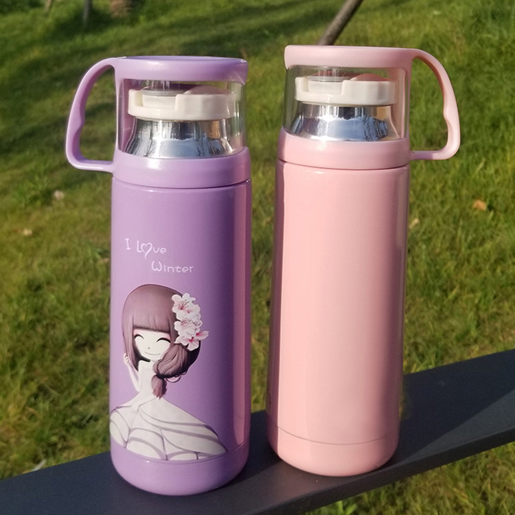 Girlish Portable Stainless Steel Flask for Students School Water Bottle