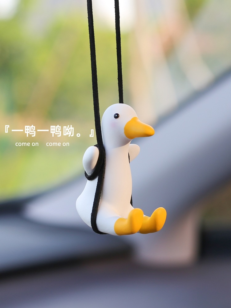 Funny Swinging Duck for Car Rearview Mirror Pendant
