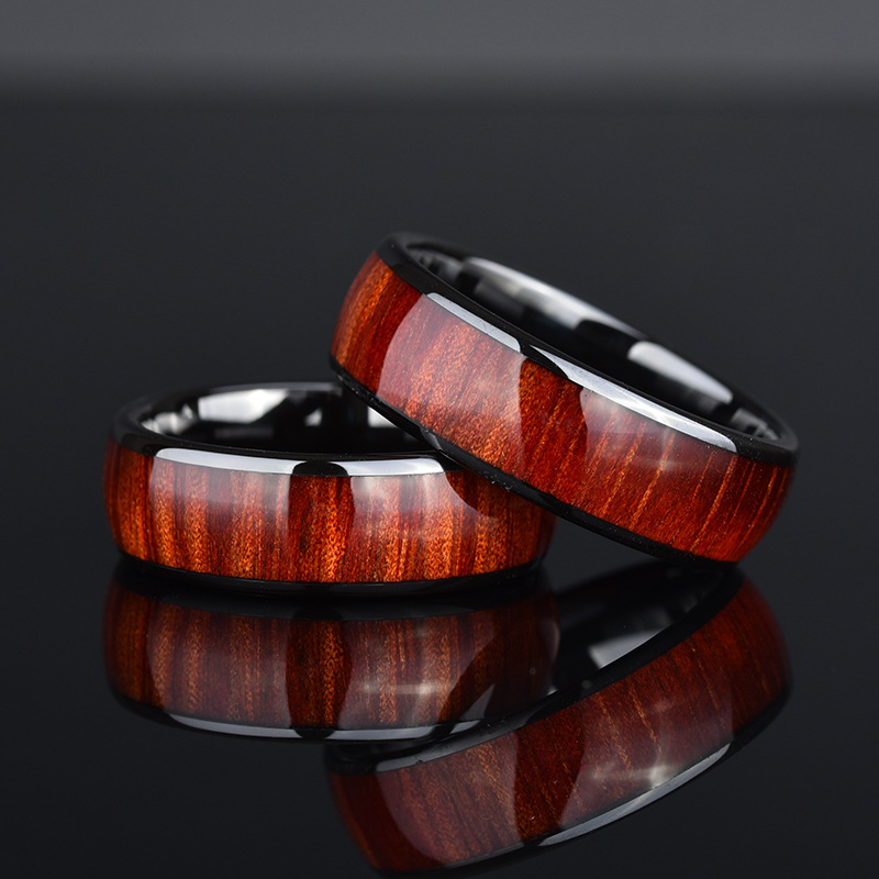 Wooden-Design Stainless Steel Ring for Ordinary Accessories