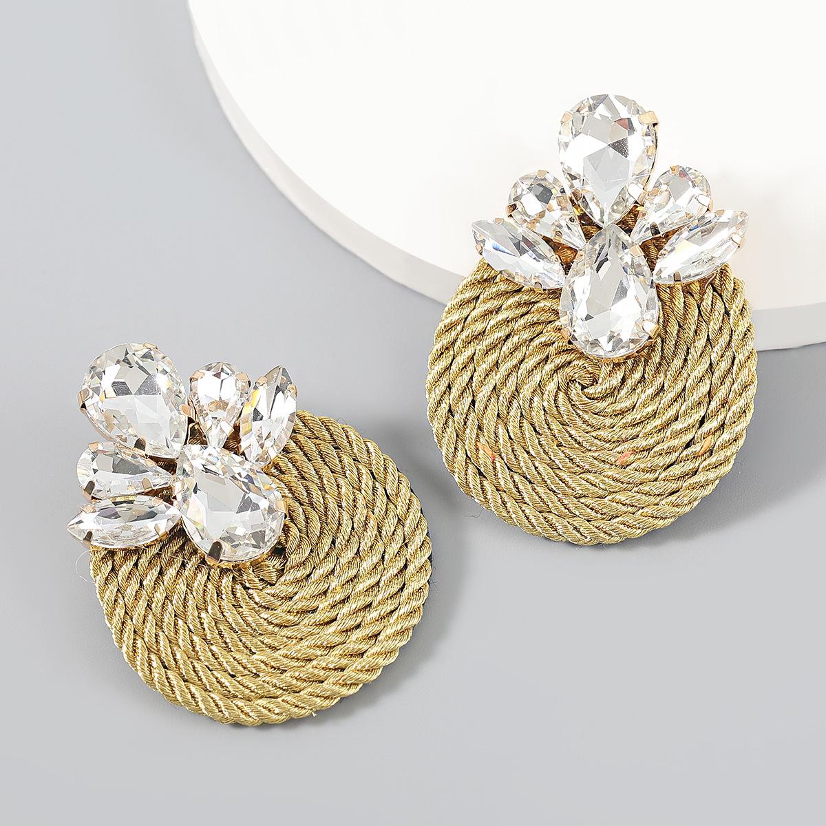 Sparkling Geometric Glass Diamond Alloy Earrings for Fabulous Looks