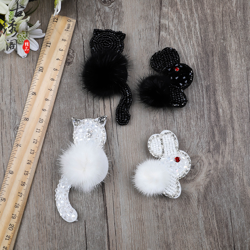 Faux Fur Cat and Rabbit Design Patch Pin for Clothing Accessory