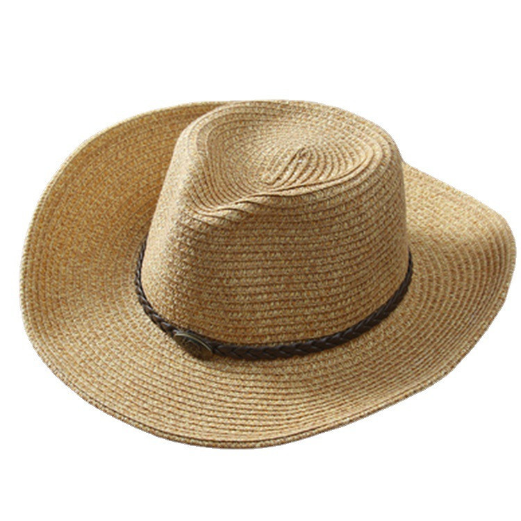 Classic Big-Brimmed Foldable Straw Hat for Men's Country-Style Fashion