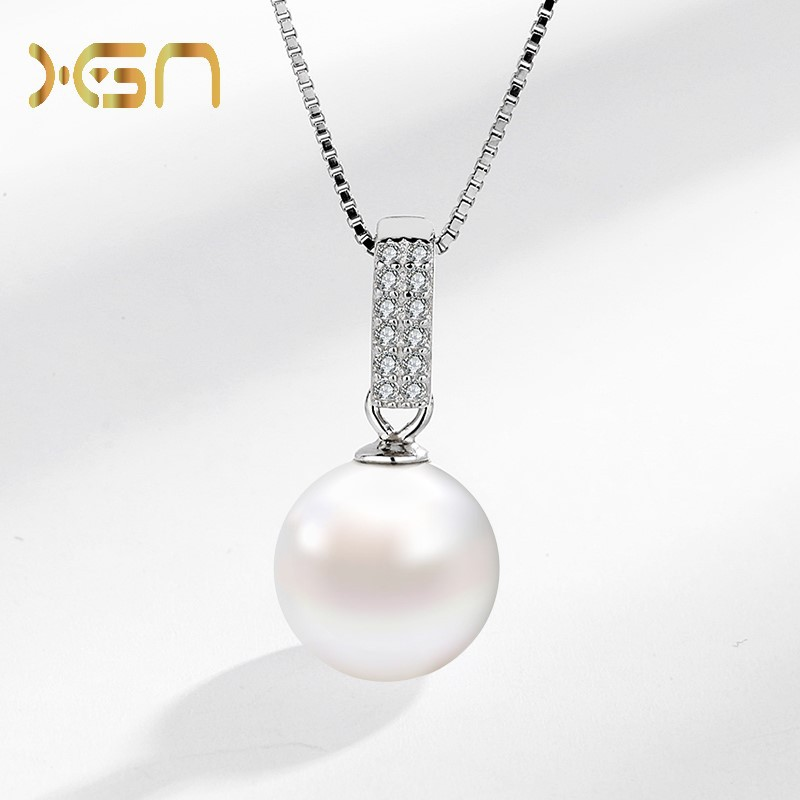 Pretty Detailed Faux Gems and Pearl Pendant Necklace for Birthday Gifts