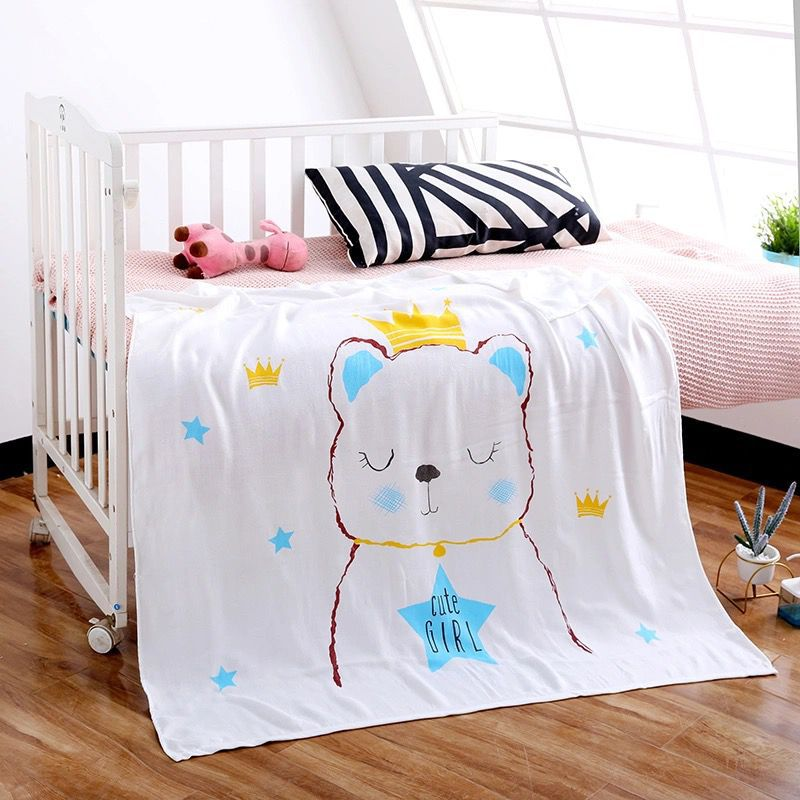 Endearing Prints Double-Layered Bamboo Fiber Blanket for Children's Cozy Sleep