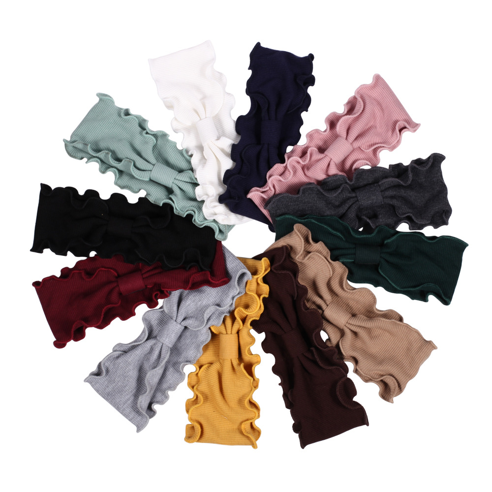 Casual Ruffle-Side Solid Color Cloth Headband for Sweet Style Hair Accessories