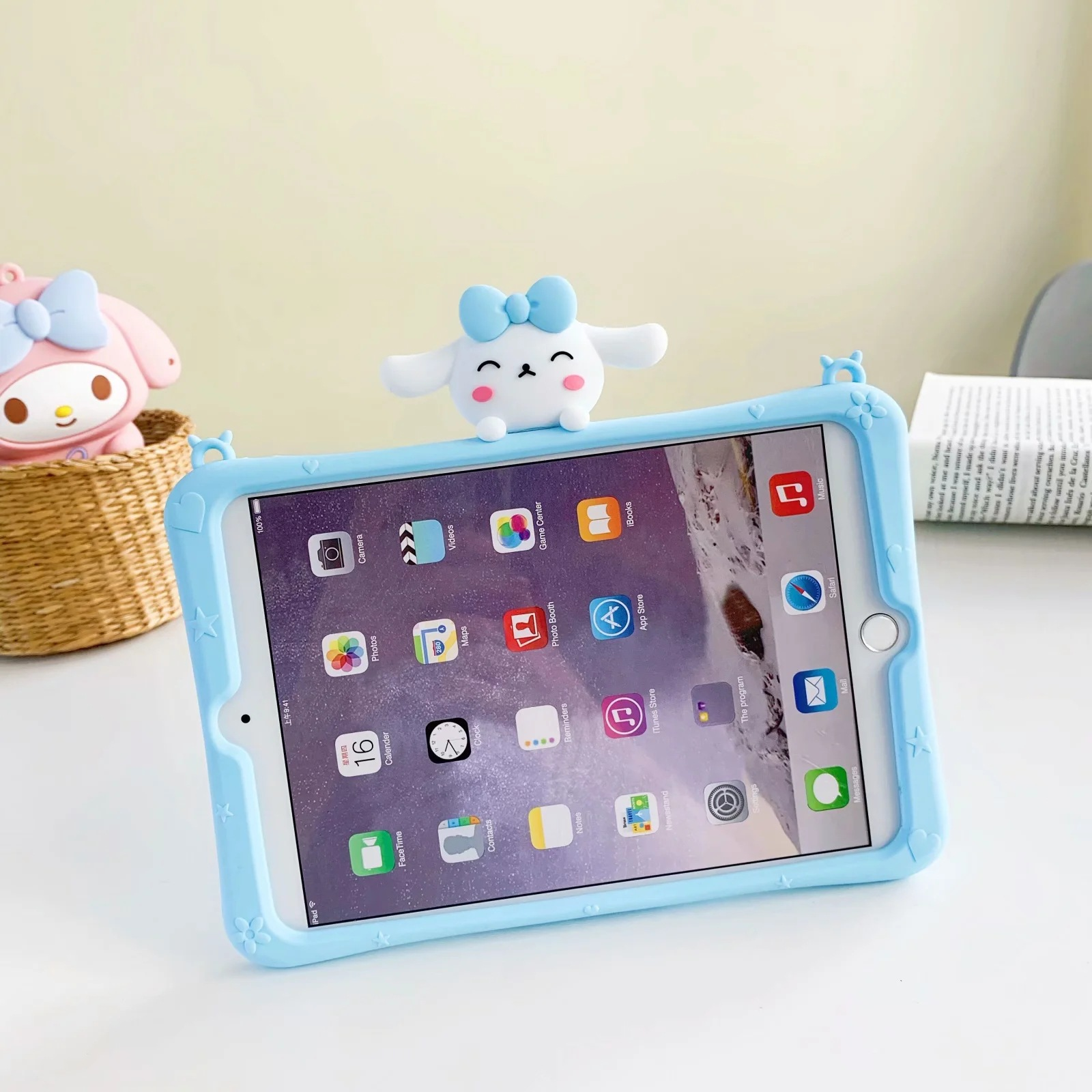 Cute Silicone Tablet Protective Cover with Stand for Online Class Use