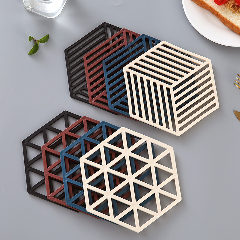 Cool Plain Colored Hexagon Shaped Hollowed Table Mat for Kitchen Use