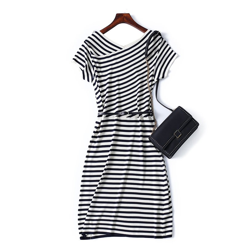 Belted A-Line Striped Dress for Bible Study Outfit