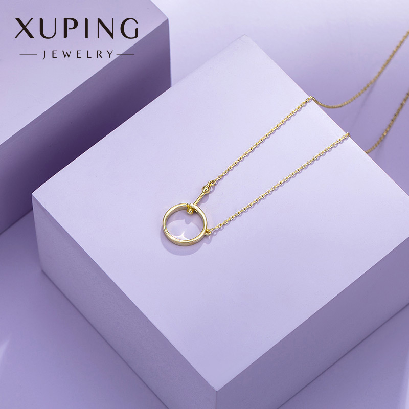 Dainty Round Gold/Silver-Colored Ring Necklace for Simple Elegant Looks