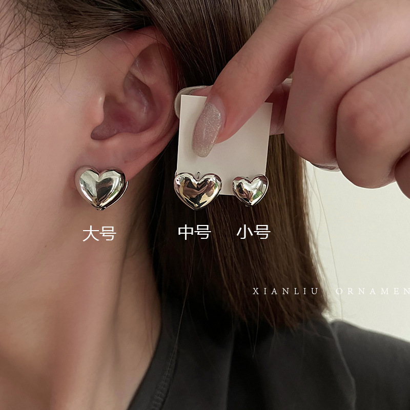 Basic Small Silver-Toned Heart Hoop Earrings for Simple Fashion Style