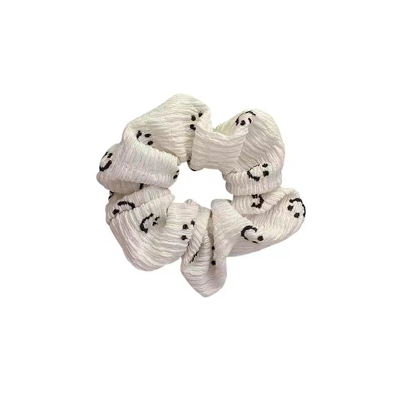 Minimalistic Smiley-Print Scrunchie for Coffee Hangouts