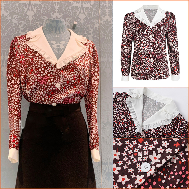 Retro Floral Printed Button-Up Shirt for Vintage-Inspired Outfits