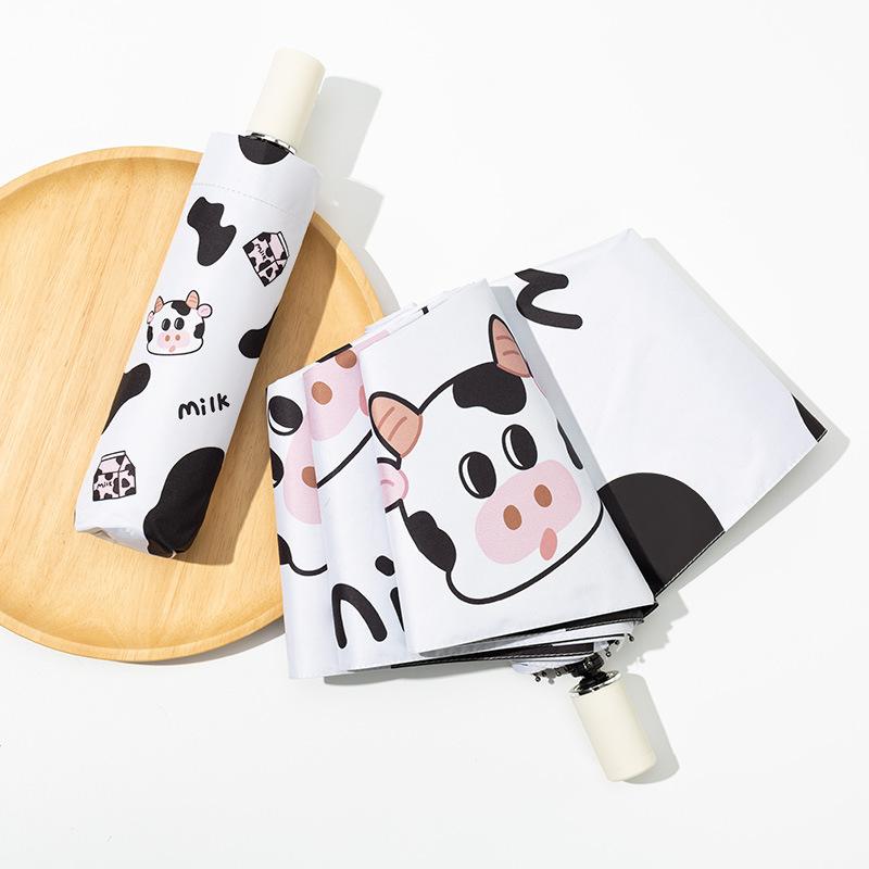 Portable Cow Print Umbrella for Sun Protection