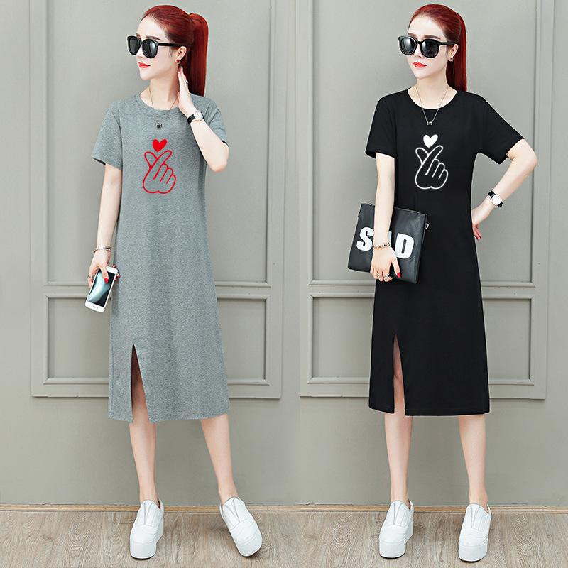 Polyester Fiber Long Dress Shirt with Finger Heart Print for Lovely Ladies