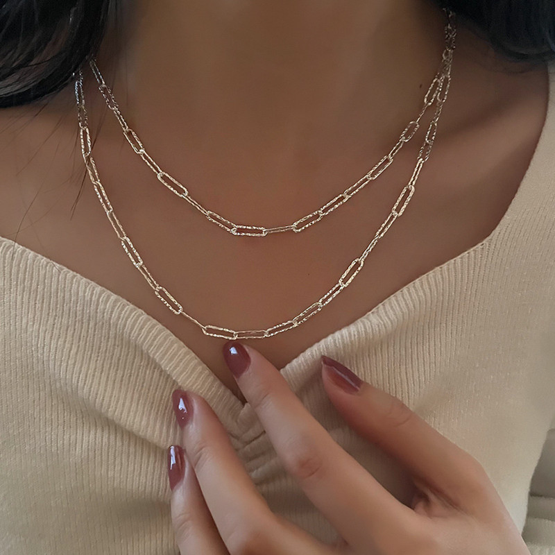 Sparkling Two-Layered S925 Silver Necklace for Elegant Outfits