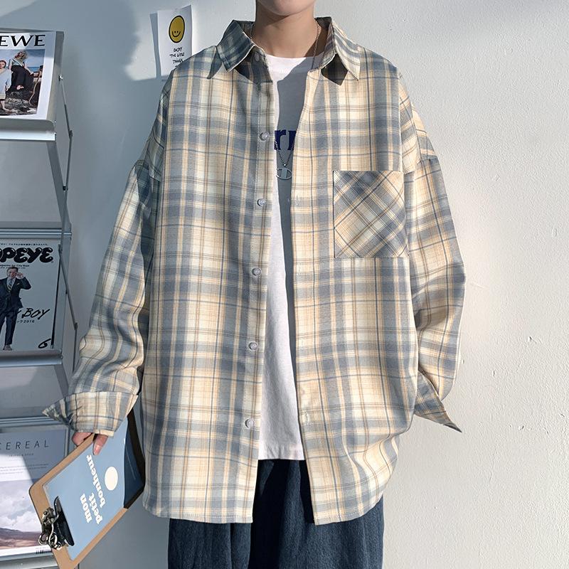 Subdued Yellow and Blue Plaid Jacket for Retro Fashion Aesthetics