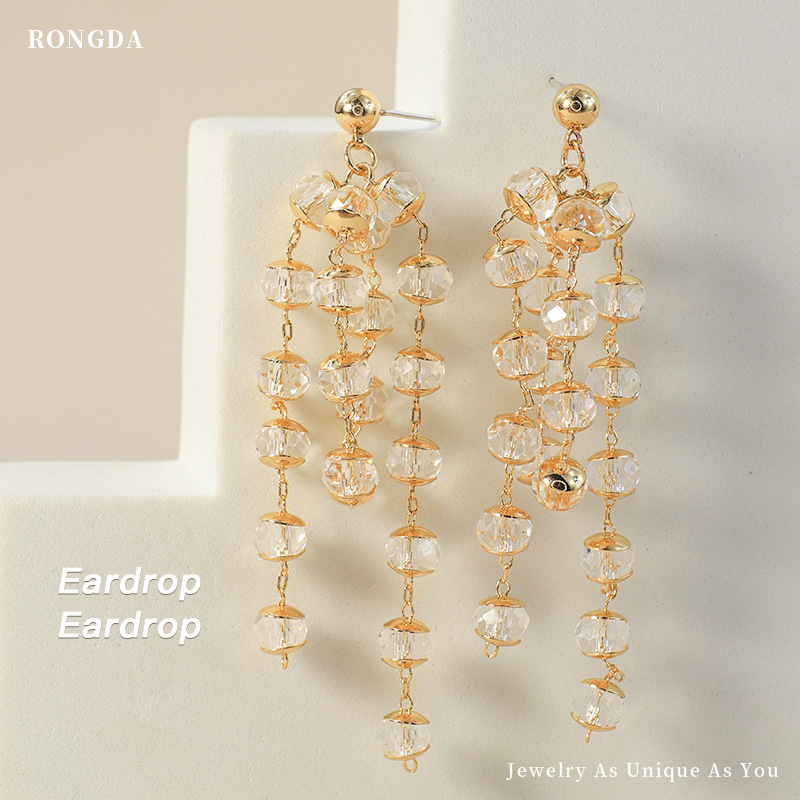Fancy Faux Diamond Gold-Plated Earrings for Matching Chic Outfits