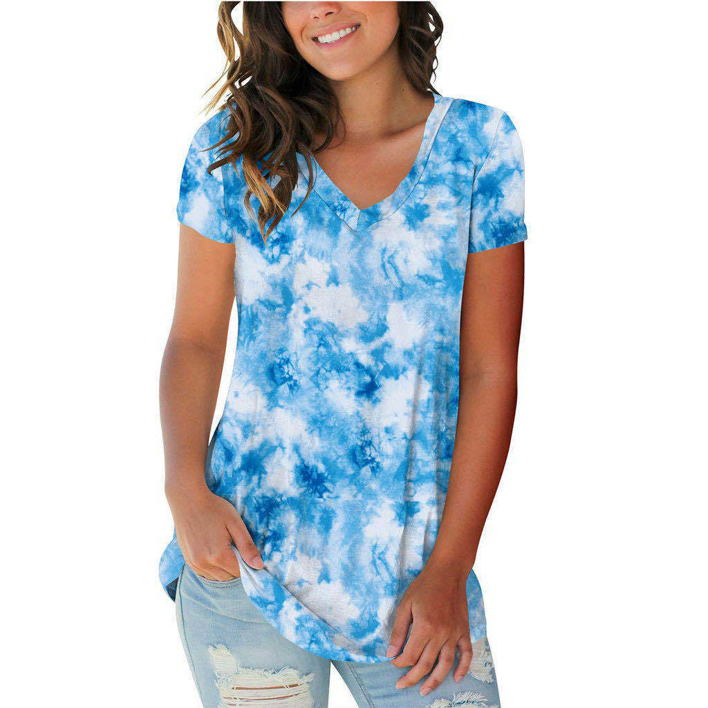 Trendy Abstract Cloud V-Neck T-Shirt for Ladies