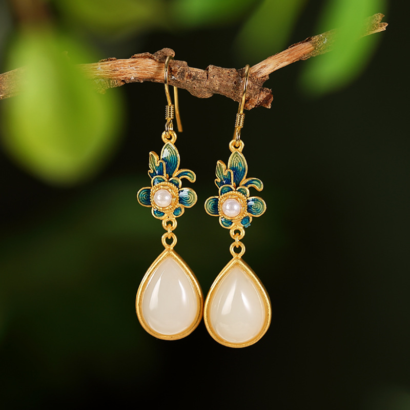 Retro Gold/Silver-Plated with Dangle Jade Earrings for Ladies Accessories