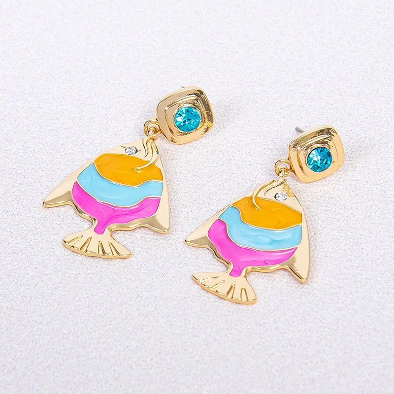 Colorful Oil Dripping Fish Earrings For Summer Wear Accessory