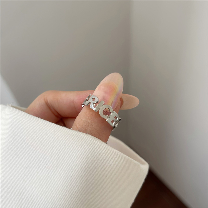 Simple Lettering Index Finger Ring for Any Occasion Wear