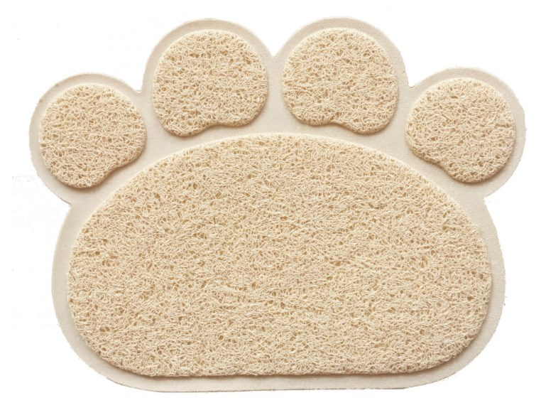 Flat Paw Print Shaped Rug for Preventing the Spread of Cat Litter