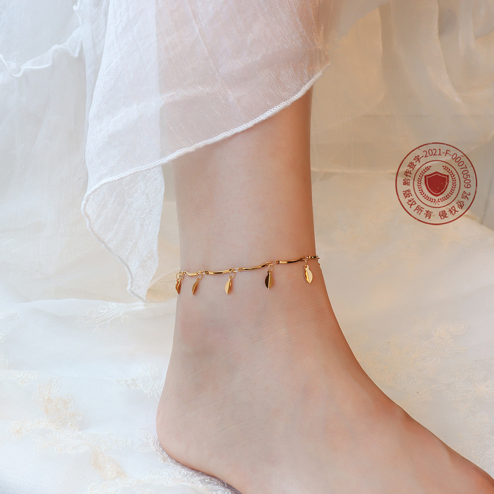 Fancy Leaves Charm Anklet for Fashion