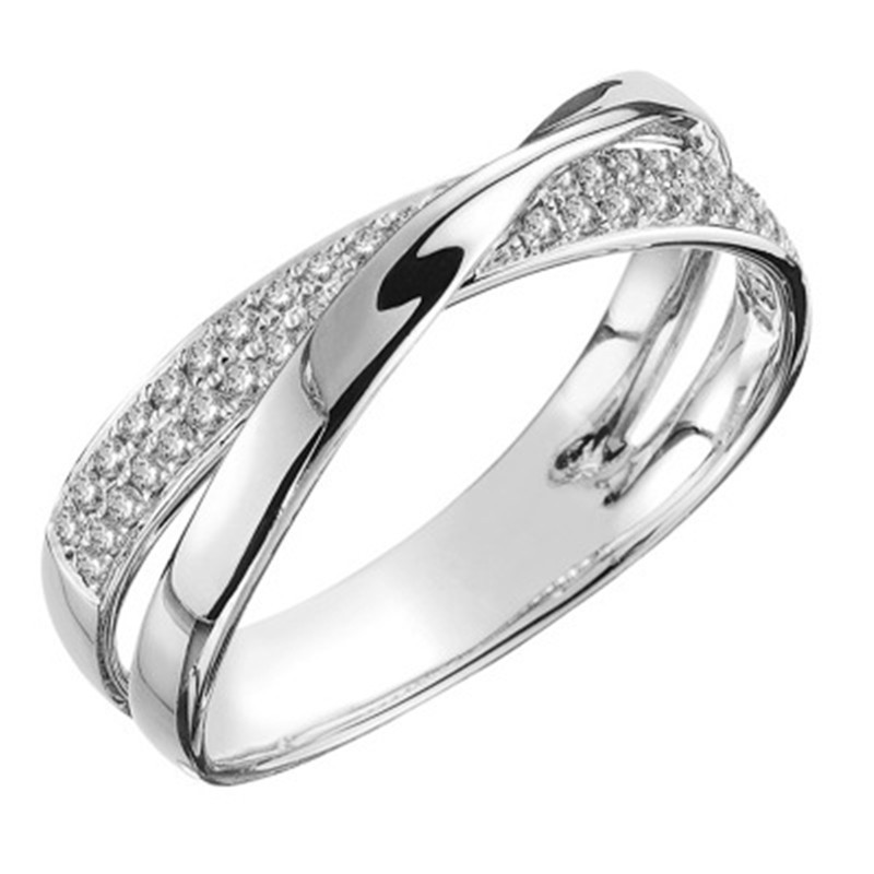 Elegant Crystal Glass Embedded Wrought Metal Rings for Fancy Jewelry