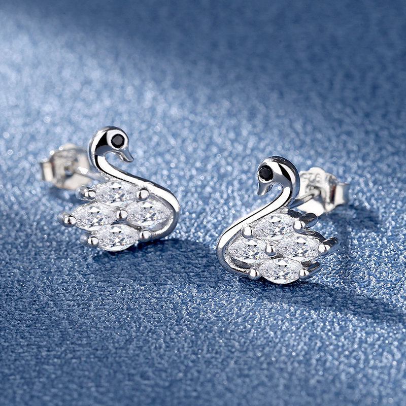 Enchanting Swan Cupronickel Stud Earrings for Valentine's Day Gifts
