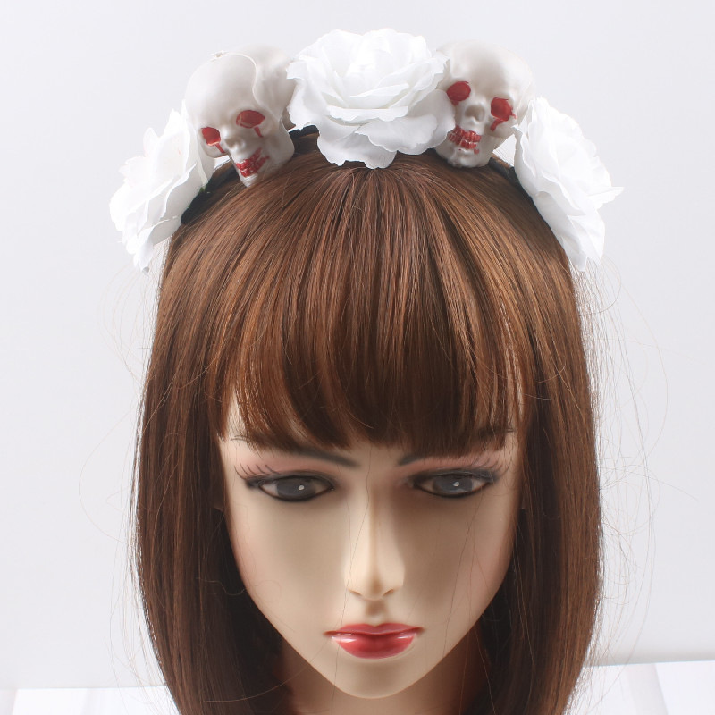 Spooky Skull and Rose Design Headbands for Halloween