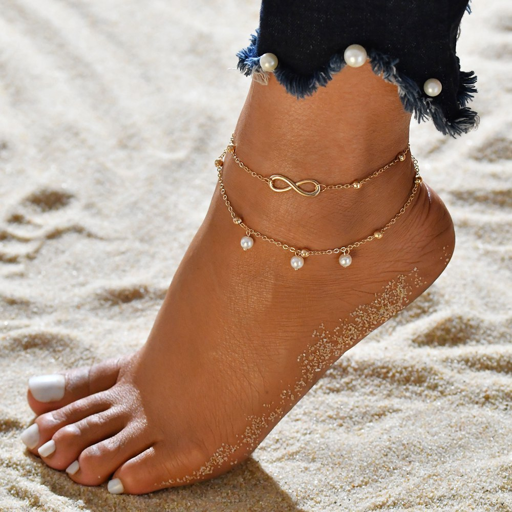 Iconic Infinity Alloy Anklet for Beach Party