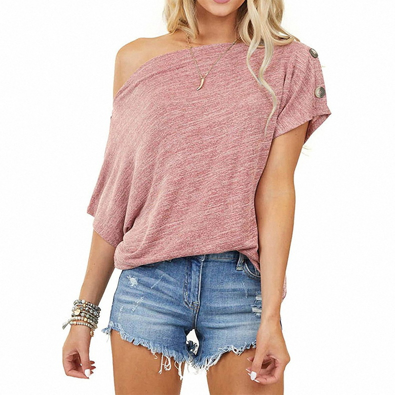 Baggy One Shoulder Buttoned Arm Top for Spring Time