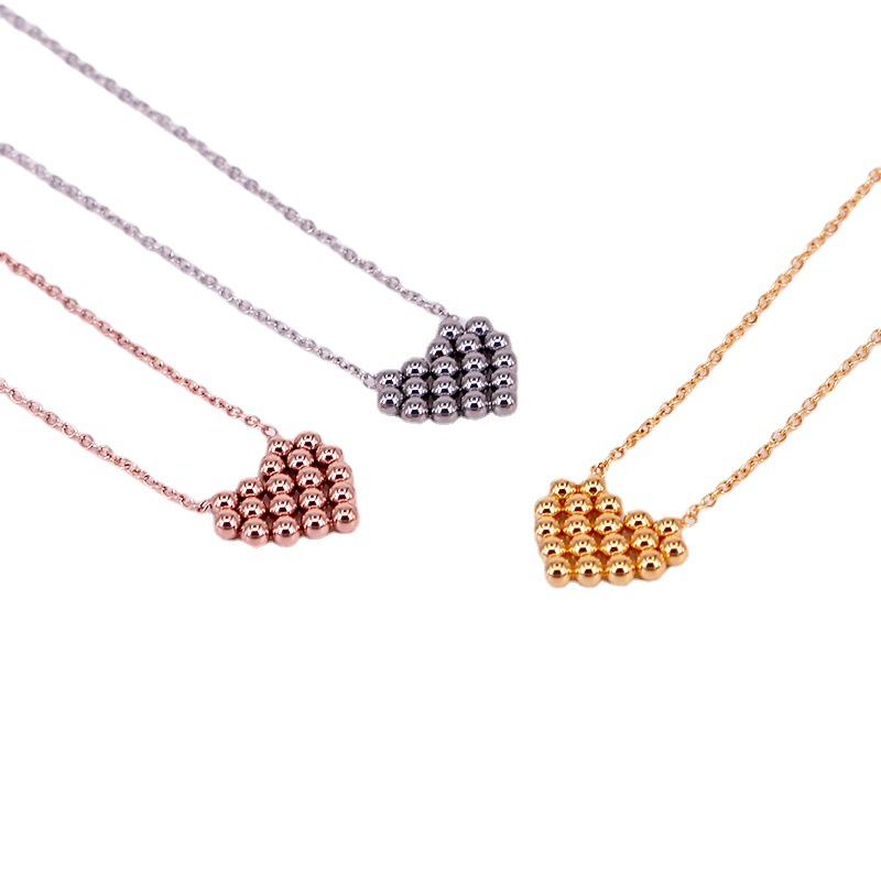 Gorgeous Steel Ball Necklace with heart Design for Women's Everyday Use