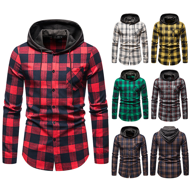 Slim-Fitting Flannel Check Plaid Pattern Long Sleeves Hoodies for Cold Rainy Day