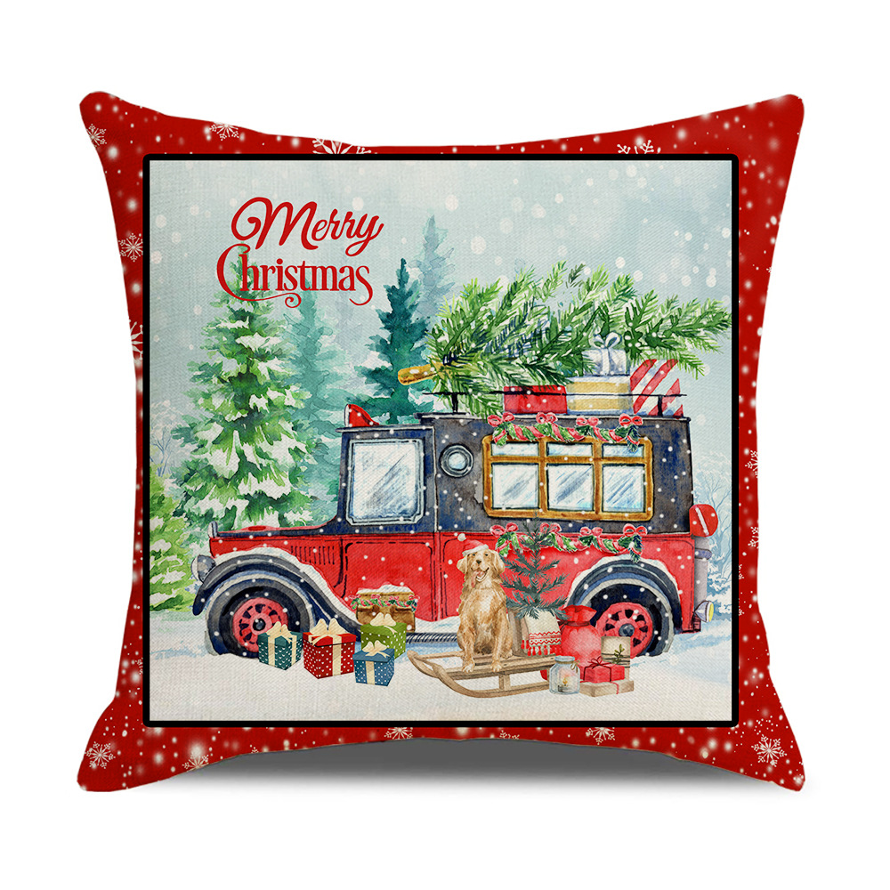 Beautiful Christmas-Themed Square Pillow for Home Christmas Decoration