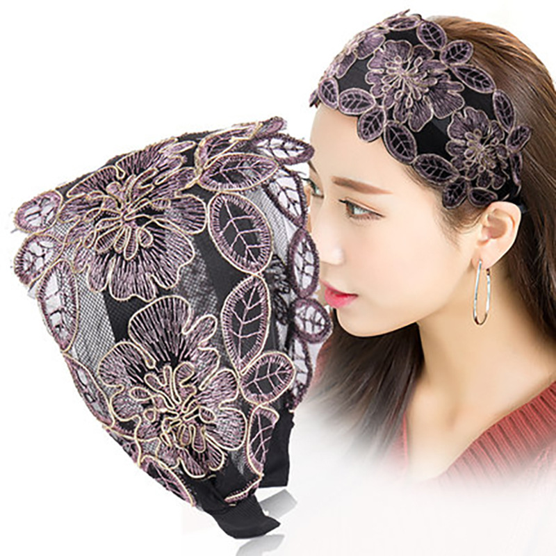 Floral Non-Slip Lace Headband for Chic-Themed Photoshoots