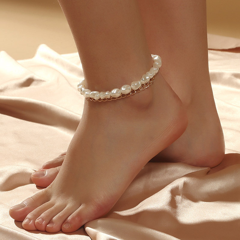 Double-Layer Gold Chain and Pearly White Beads Anklet for Women