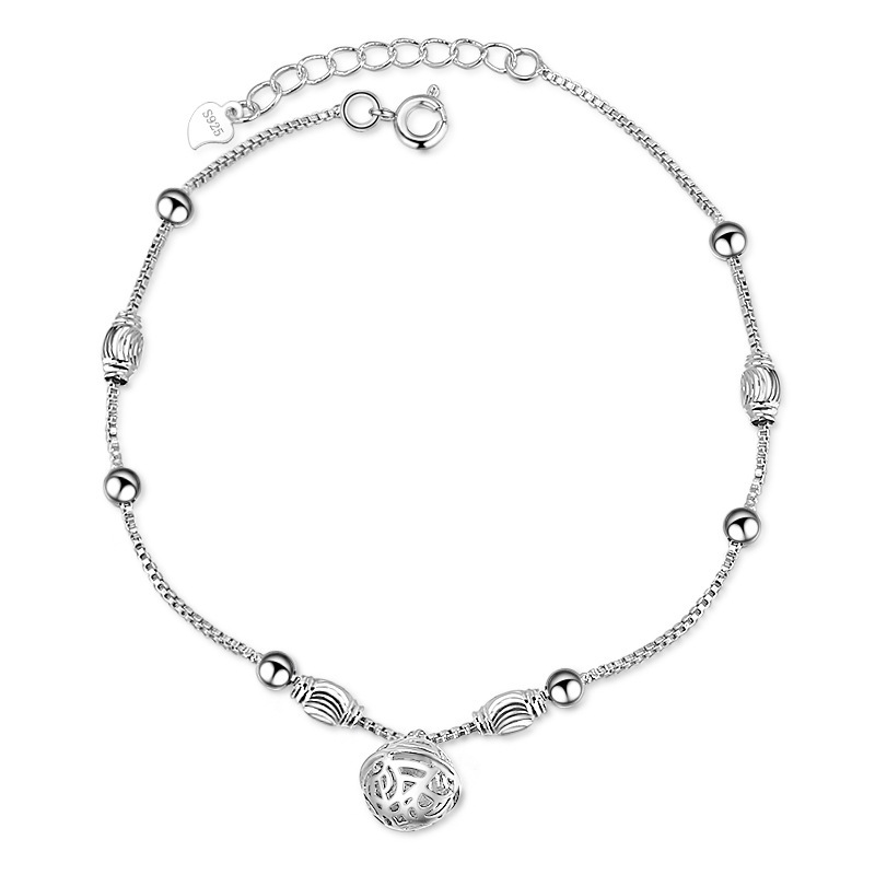 Cute and Simple Silver Anklet with Beads for Stylish Getup