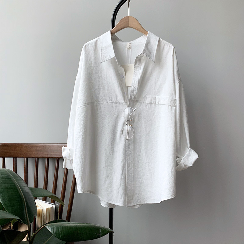 Alluring Cotton V-Neck Button-Up Long-Sleeve for Buying Groceries
