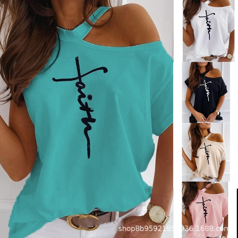 """Pure One Side Off Shoulder Top with """"Faith"""" Print for Going to Church"""