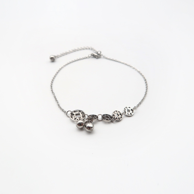 Trendy Titanium Steel Diamond Pattern with Bells Anklets for Fashionable Outfits
